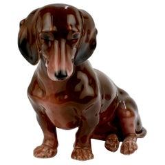 Fine Vintage Karl Ens Porcelain Sitting Dachshund Dog Figurine
