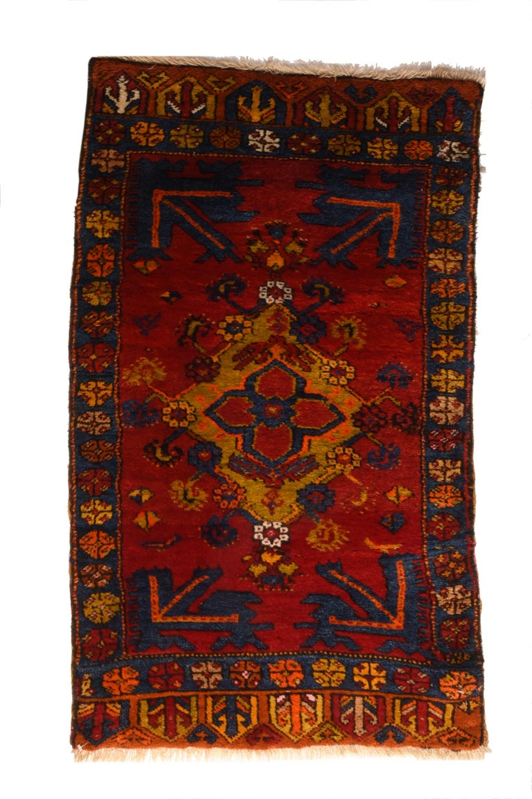 Hand-Knotted Fine Vintage Konya Turkish Rug, Hand Knotted, circa 1950s For Sale