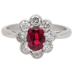 Fine Vintage Natural 1.16 Ct No Heat Siam Ruby .80 Ct G VVS Diamond Cluster ring