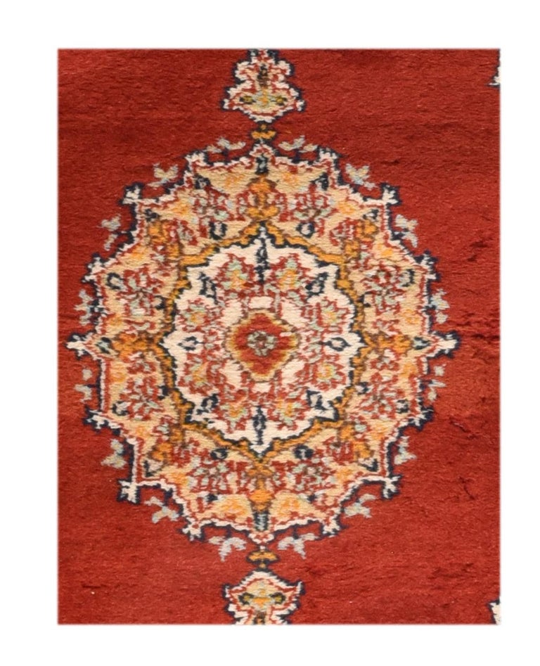 Fine vintage Pak Bokhara rug, hand knotted, circa 1950s  Design: Center medalion  A Pakistani rug (Pak Persian Rug or Pakistani carpet) is a type of handmade floor-covering textile traditionally made in Pakistan.  Bokhara Ghiordes (Turkish)