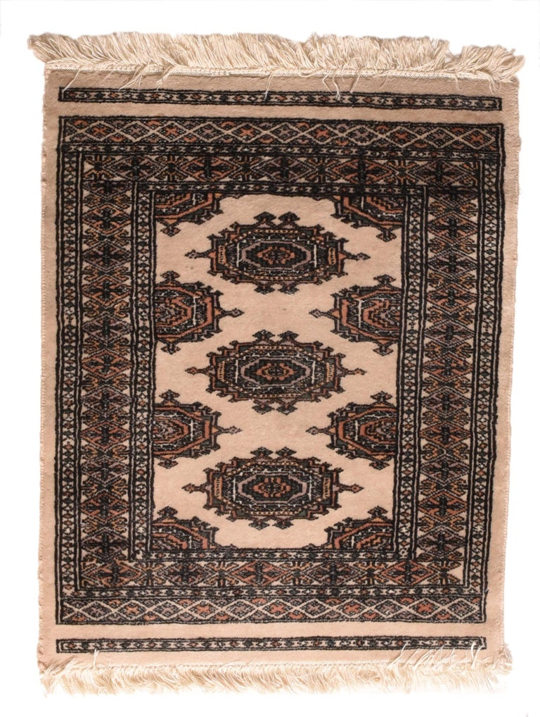 Pakistani Fine Vintage Pak Bokhara Rug, Hand Knotted, circa 1950s For Sale
