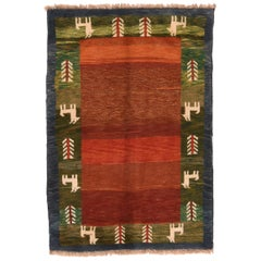 Fine Vintage Persian Gabbeh, Hand Knotted, circa 1950s