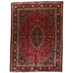 Fine Vintage Persian Mashad Rug, Hand Knotted, circa 1970s