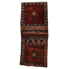 Fine Vintage Persian Tribal Balouch Saddle Bag Rug, Hand Knotted, circa 1950s