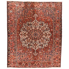 Fine Vintage Red Bakhtiari Persian Rug, Hand Knotted, circa 1950s