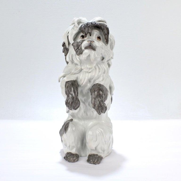 Rococo Fine Vintage Samson Porcelain Bolognese or Bichon Dog Figurine For Sale