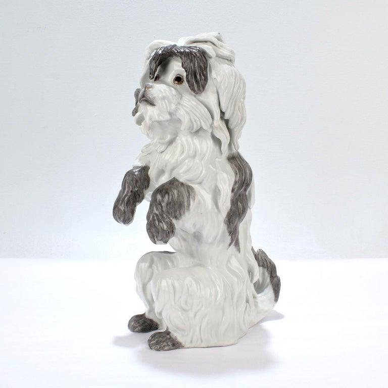 French Fine Vintage Samson Porcelain Bolognese or Bichon Dog Figurine For Sale