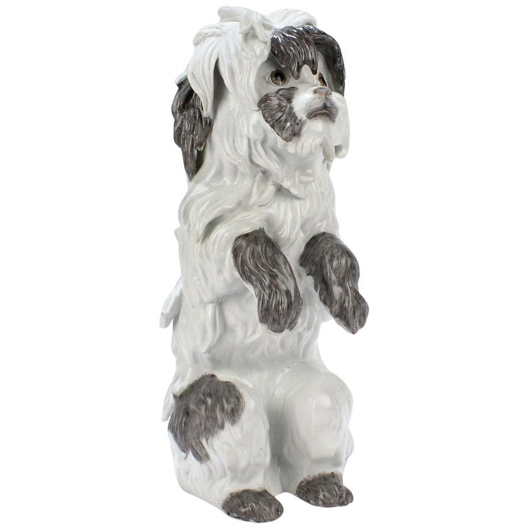 Fine Vintage Samson Porcelain Bolognese or Bichon Dog Figurine For Sale