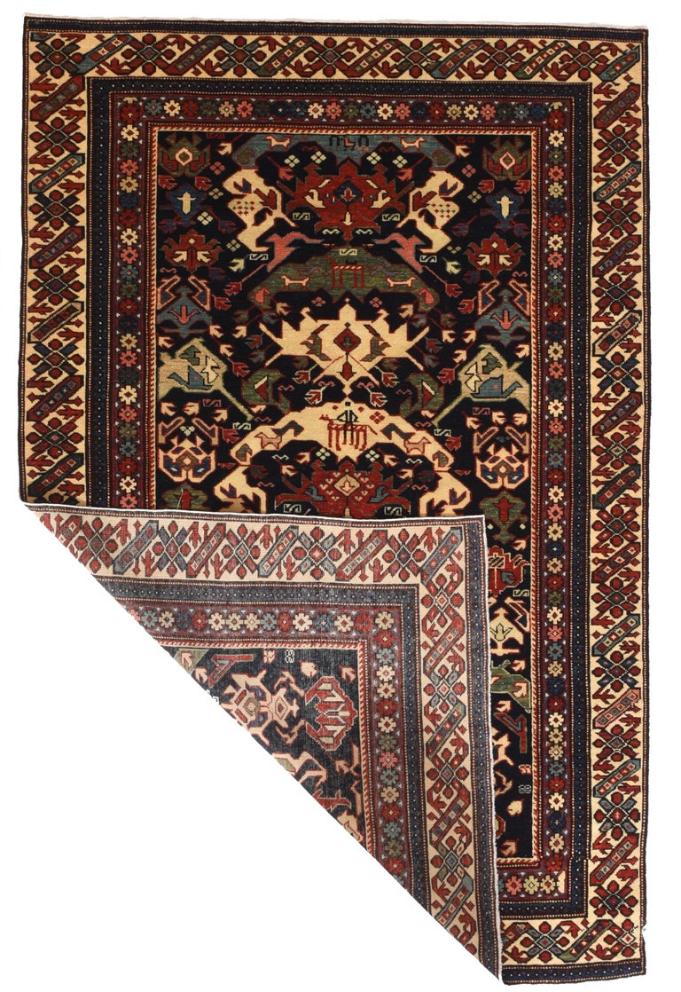 Fine vintage Shirvan Russian rug, hand knotted, circa 1950  Design: All-over  Shirvan rug, floor covering handmade in the Shirvan region of Azerbaijan in the southeastern Caucasus. With the exception of a group of rugs woven in the vicinity of