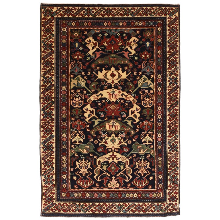 Fine Vintage Shirvan Russian Rug, Hand Knotted, circa 1950 For Sale