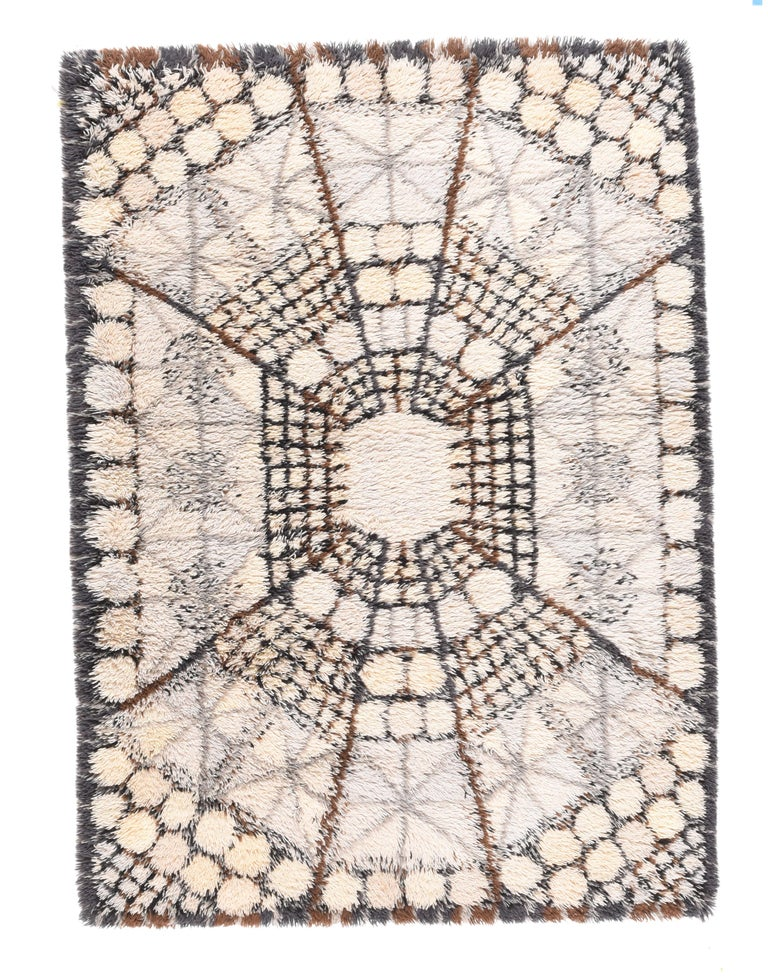 Hand-Knotted Fine Vintage Swedish Rug/Carpet, Hand Knotted, circa 1950s For Sale