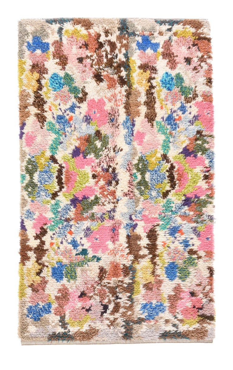 Hand-Knotted Fine Vintage Swedish Shag Rug/Carpet, Hand Knotted, circa 1950s For Sale