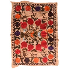 Fine Vintage Uzbak Suzani Embroidery, Hand Knotted, circa 1950s