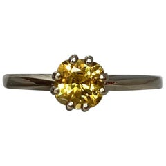 Fine Vivid Yellow Sapphire Square Cushion Cut White Gold Solitaire Ring