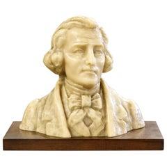 Fine Wax Bust of Franz Liszt by French Sculptor Paul Gaston Deprez, Signed