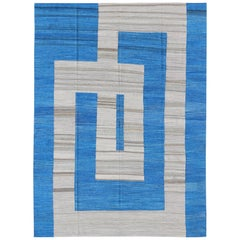 Fine Weave Kilim Rug with Large Modern Pattern in Cobalt Blue and Gray
