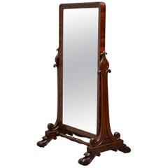 Fine William IV Cheval Mirror in Mahogany