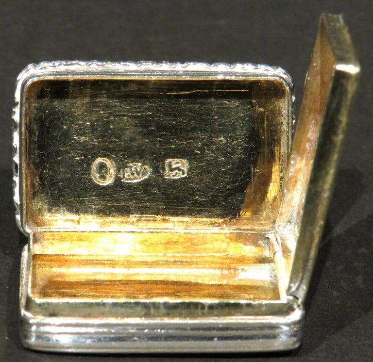 Fine William IV Sterling Silver Vinaigrette by Joseph Willmore, Birmingham 1835 For Sale 2