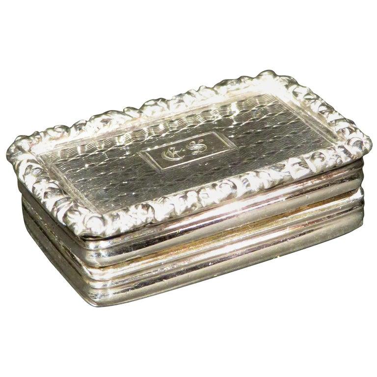 Fine William IV Sterling Silver Vinaigrette by Joseph Willmore, Birmingham 1835 For Sale