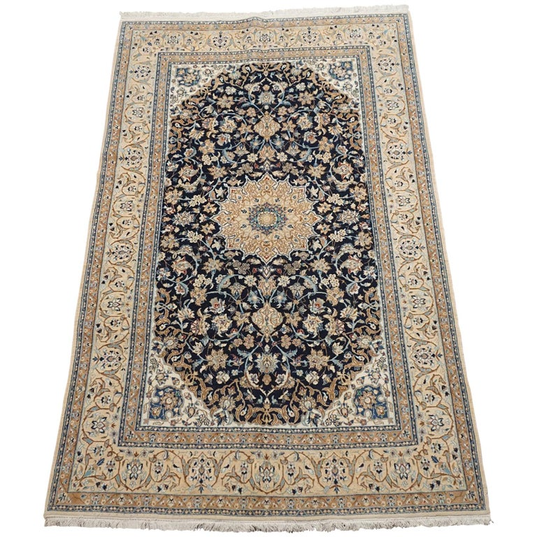 Ivory Wool And Silk Persian Naein Area Rug For Sale At 1stdibs: Fine Wool And Silk Naein Rug For Sale At 1stdibs