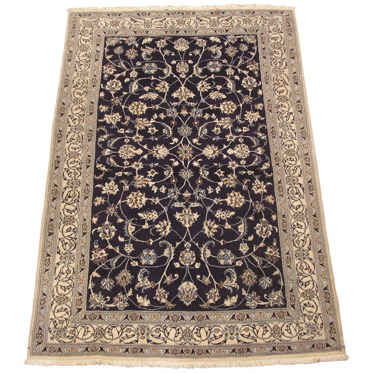 Ivory Wool And Silk Persian Naein Area Rug For Sale At 1stdibs: Fine Wool And Silk Persian Naein Rug For Sale At 1stdibs
