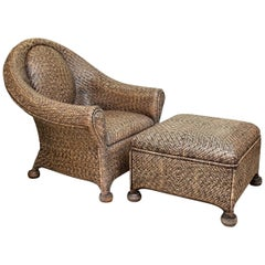 Fine Woven Rattan Club Chair and Ottoman