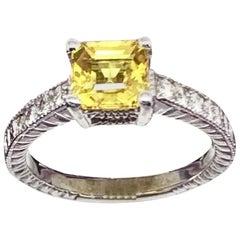 Fine Yellow Sapphire Diamond 14 Karat 1.66 Carat Ladies Ring Certified