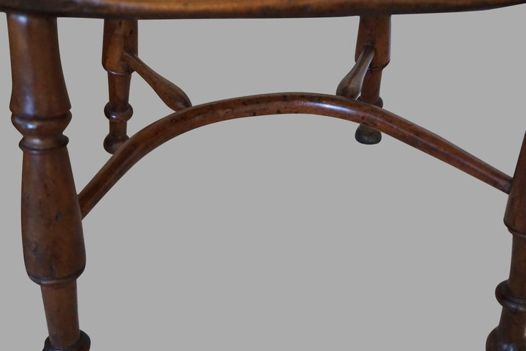 English Yew Wood Narrow Arm High Back Windsor Chair For Sale 5