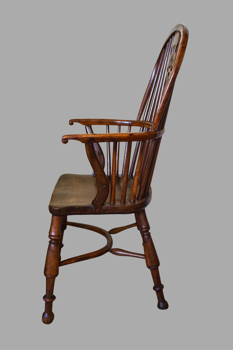 Victorian English Yew Wood Narrow Arm High Back Windsor Chair For Sale