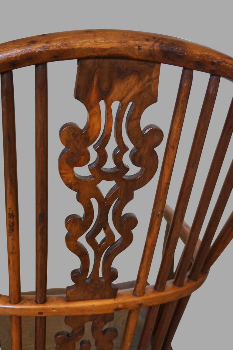 19th Century English Yew Wood Narrow Arm High Back Windsor Chair For Sale