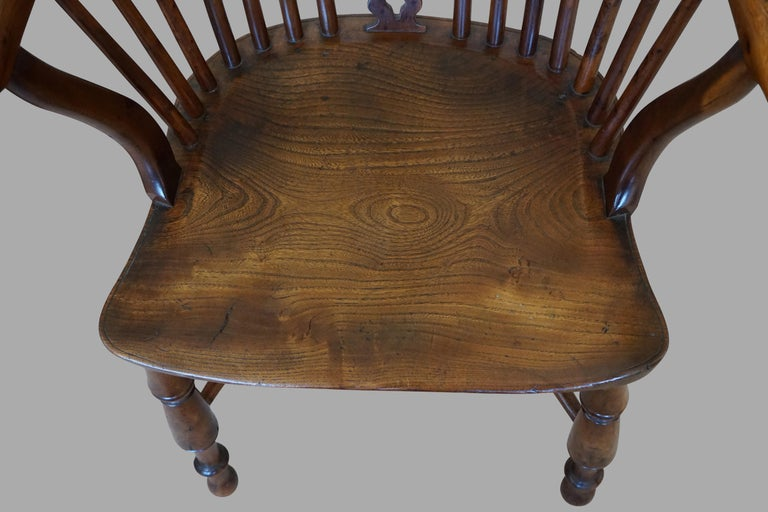 Elm English Yew Wood Narrow Arm High Back Windsor Chair For Sale