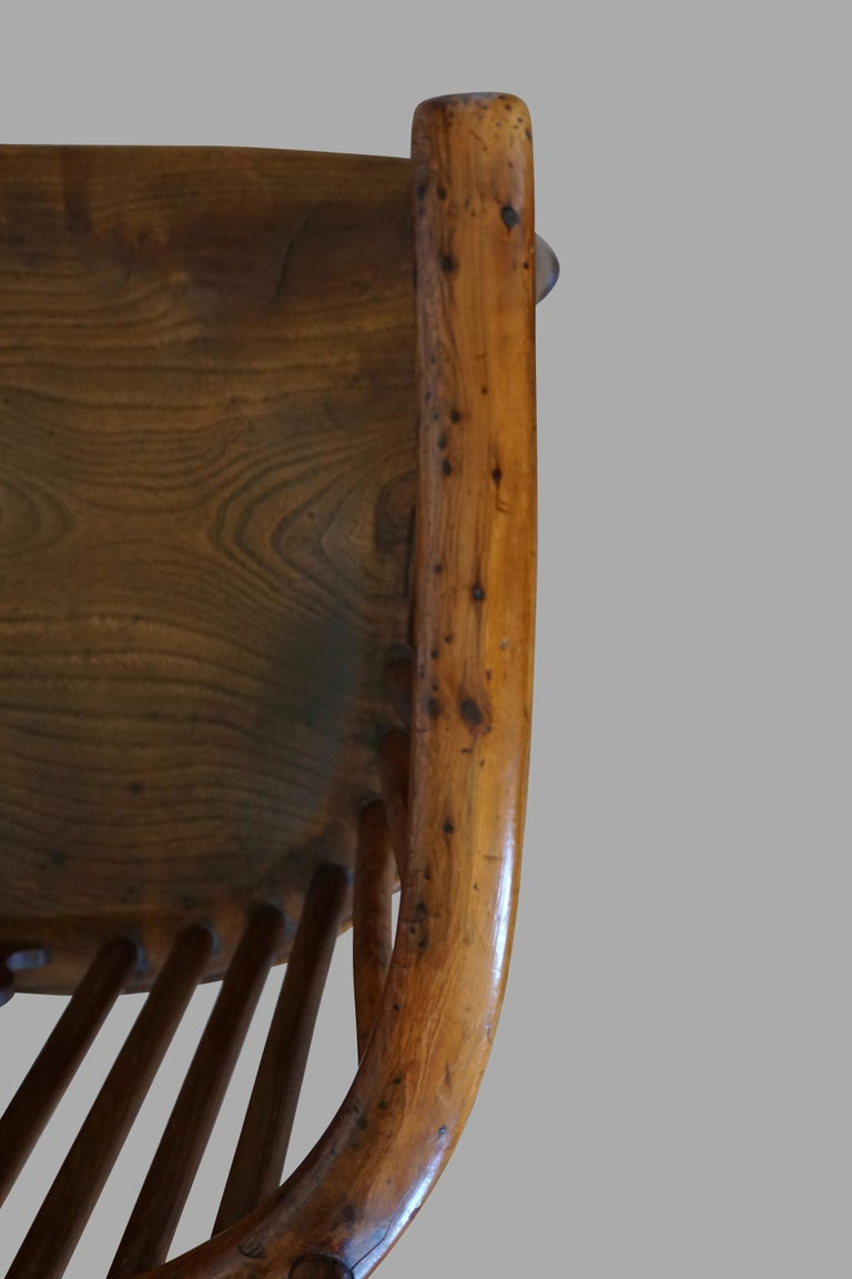 English Yew Wood Narrow Arm High Back Windsor Chair For Sale 3