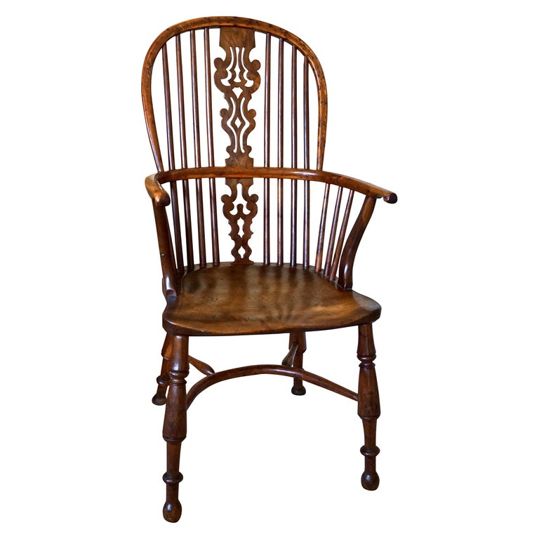 English Yew Wood Narrow Arm High Back Windsor Chair For Sale