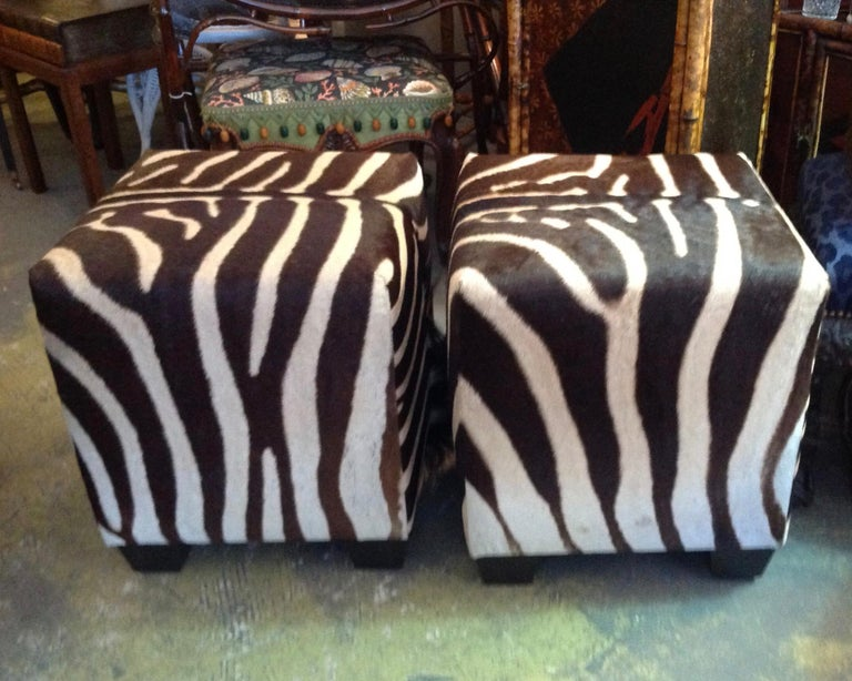 Fine Zebra Ottomans For Sale 1
