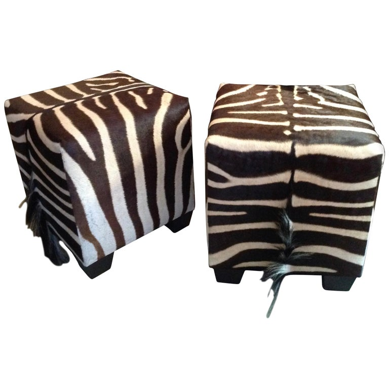 Fine Zebra Ottomans For Sale