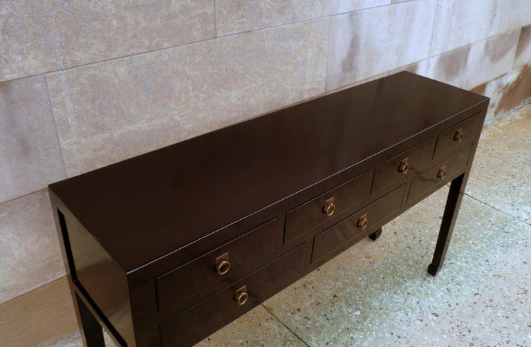 20th Century Fined Black Lacquer Console Table with Drawers