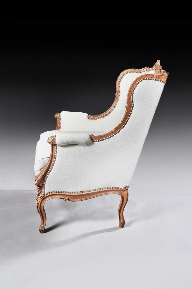 Finely Carved 19th Century French Louis XV Style Wing Armchair In Good Condition For Sale In Benington, Herts