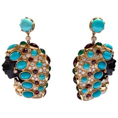 Finely Carved African Female Gold Earrings Ebony Turquoise Diamonds Tourmaline
