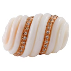 Finely Carved Coral, Diamonds, Rose Gold Wave Ring