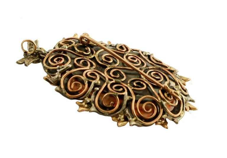 Retro Finely Carved Coral, Rubies, Diamonds, 9 Karat Gold and Silver Pendant or Brooch For Sale