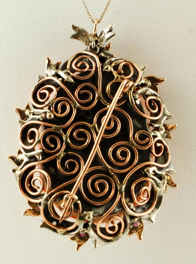 Round Cut Finely Carved Coral, Rubies, Diamonds, 9 Karat Gold and Silver Pendant or Brooch For Sale