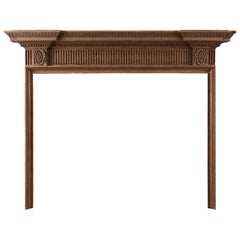 Finely Carved English Wood Fireplace