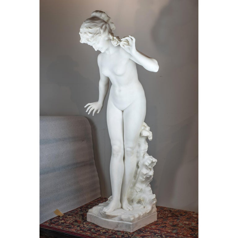 Italian White Marble Statue of a Woman by Aristide Petrilli For Sale