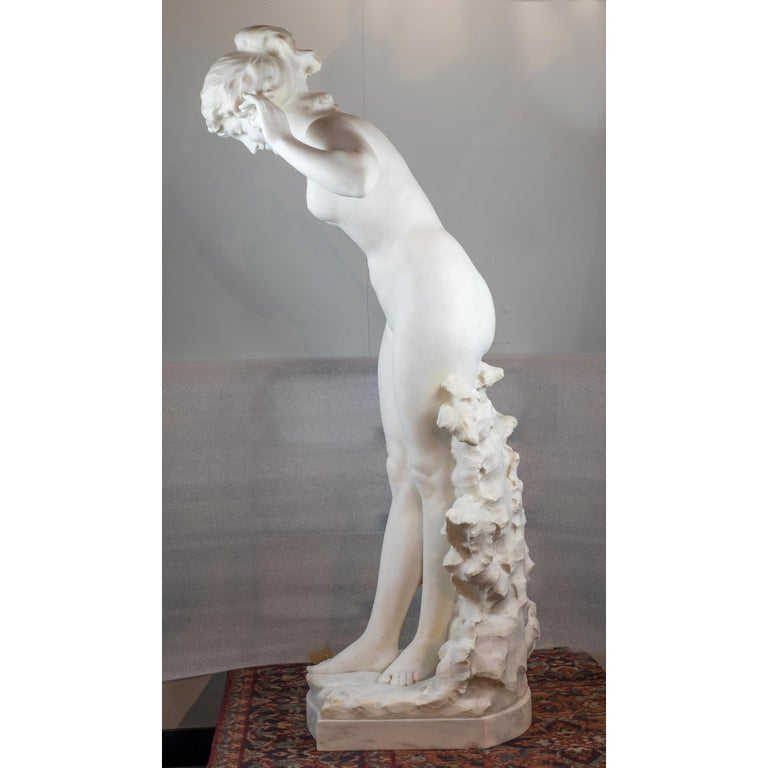 Carved White Marble Statue of a Woman by Aristide Petrilli For Sale