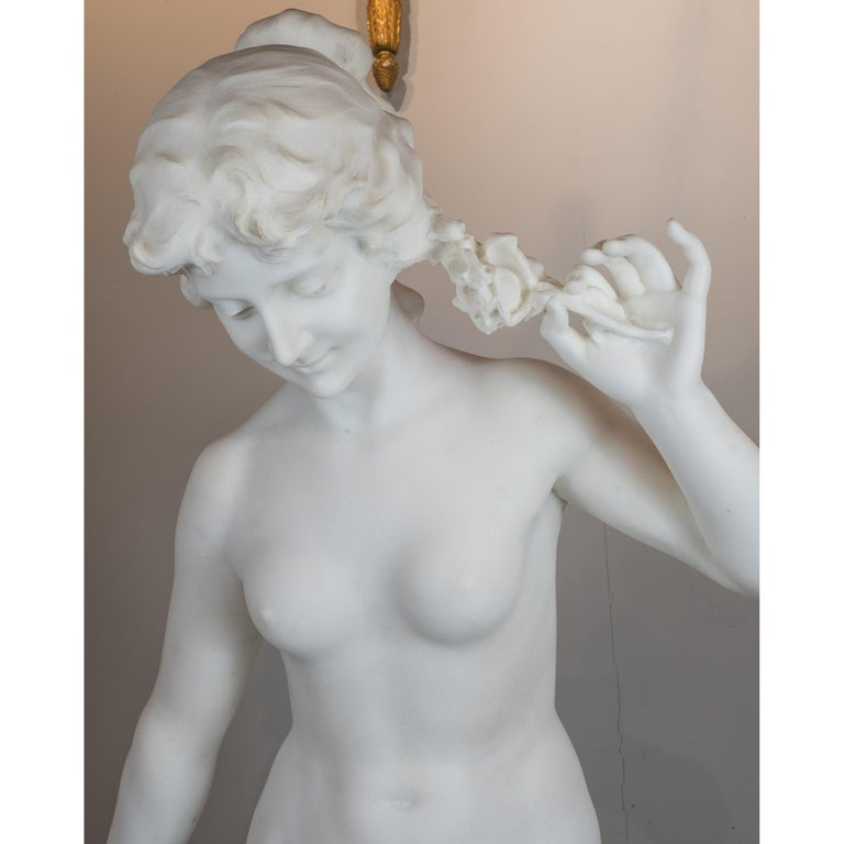 19th Century White Marble Statue of a Woman by Aristide Petrilli For Sale