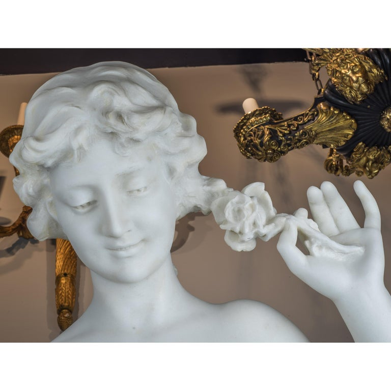 Carrara Marble White Marble Statue of a Woman by Aristide Petrilli For Sale