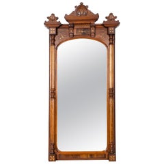 Finely Carved Mahogany Wood Victorian Style Hanging Mirror