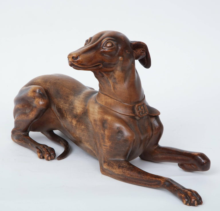 English Finely Carved Recumbent Whippet, circa 1900s For Sale