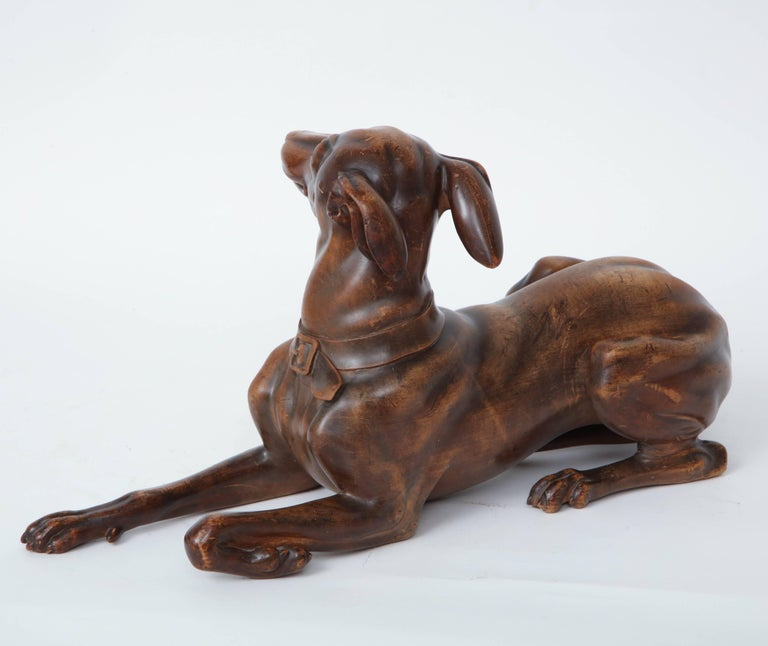 Finely Carved Recumbent Whippet, circa 1900s In Good Condition For Sale In New York, NY