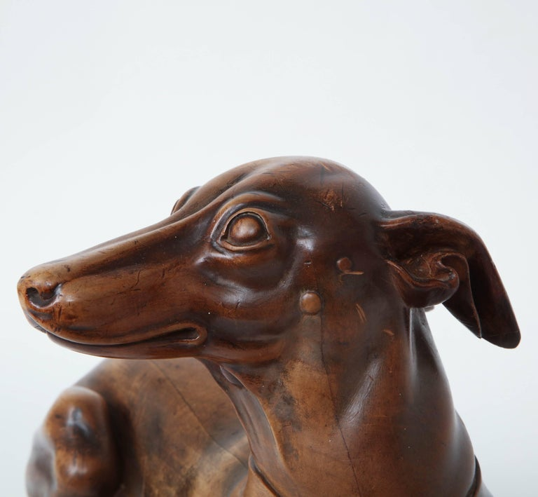 Finely Carved Recumbent Whippet, circa 1900s For Sale 4
